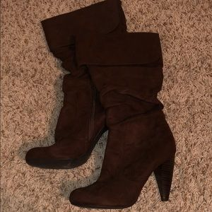 Dark brown calf high heel boots